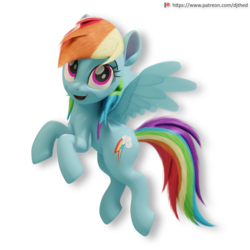 Size: 2176x2176 | Tagged: 3d, 3d model, artist:therealdjthed, blender, cute, cycles, cycles render, female, flying, mare, patreon, patreon logo, pegasus, pony, rainbow dash, safe, simple background, solo, transparent background, wings