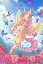 Size: 676x1000 | Tagged: artist:12irinchan, butterfly, chest fluff, colored hooves, complex background, cute, digital art, female, flower, flower field, fluttershy, flying, happy, hoof fluff, mare, open mouth, outdoors, pegasus, pony, safe, shyabetes, sky, smiling, solo, spread wings, unshorn fetlocks, wings