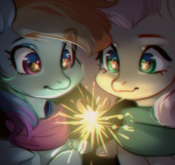 Size: 1163x1098 | Tagged: artist:aphphphphp, clothes, duo, eye reflection, female, fireworks, fluttershy, looking at something, mare, pegasus, pony, rainbow dash, reflection, safe, scarf, sparkler (firework)