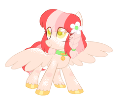 Size: 1019x827 | Tagged: artist:owlity, female, flower, mare, oc, oc:baby cakes, pegasus, pony, safe, smiling, solo