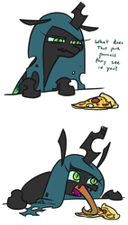 Size: 467x821   Tagged: safe, artist:jargon scott, queen chrysalis, changeling, changeling queen, 2 panel comic, bugs doing bug things, comic, dialogue, fangs, female, food, frown, glare, implied princess cadance, leaning, licking, long tongue, looking at something, meat, mlem, open mouth, peetzer, pepperoni, pepperoni pizza, pizza, silly, silly changeling, simple background, slit eyes, solo, talking, tasting, tongue out, white background