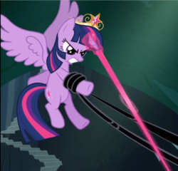 Size: 810x779 | Tagged: alicorn, big crown thingy, black vine, blast, cropped, crown, element of magic, flying, glowing horn, gritted teeth, jewelry, magic, magic blast, princess twilight sparkle (episode), regalia, safe, screencap, solo, spread wings, struggling, twilight sparkle, twilight sparkle (alicorn), wings