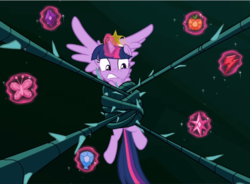 Size: 1278x940 | Tagged: alicorn, big crown thingy, black vine, cropped, crown, elements of harmony, glowing horn, jewelry, levitation, magic, princess twilight sparkle (episode), regalia, restrained, safe, screencap, solo, struggling, teeth, telekinesis, twilight sparkle, twilight sparkle (alicorn), wings