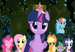 Size: 1345x937 | Tagged: alicorn, applejack, big crown thingy, black vine, cropped, crown, elements of harmony, fluttershy, flying, jewelry, mane seven, mane six, necklace, pinkie pie, princess twilight sparkle (episode), rainbow dash, rarity, regalia, safe, screencap, smiling, spike, twilight sparkle, twilight sparkle (alicorn)