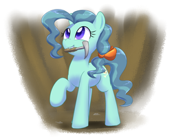 Size: 1145x913 | Tagged: safe, artist:acersiii, petunia paleo, earth pony, pony, adult, archaeology, bow, colored pupils, cute, female, hair bow, happy, mare, mouth hold, petuniabetes, pickaxe, solo