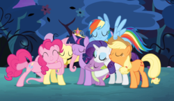 Size: 1213x705 | Tagged: alicorn, applejack, big crown thingy, crown, cute, dragon, earth pony, element of kindness, element of magic, elements of harmony, eyes closed, female, fluttershy, group hug, hug, jewelry, male, mane seven, mane six, mare, necklace, pegasus, pinkie pie, pony, princess twilight sparkle (episode), rainbow dash, rarity, regalia, safe, screencap, smiling, spike, twilight sparkle, twilight sparkle (alicorn), unicorn