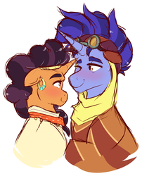 Size: 1968x2432 | Tagged: safe, artist:canisrettmajoris, edit, hoo'far, saffron masala, pony, unicorn, blushing, clothes, crack shipping, cropped, eye contact, female, looking at each other, male, mare, saf'far, shipping, stallion, straight