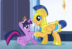 Size: 1466x994 | Tagged: safe, screencap, flash sentry, twilight sparkle, alicorn, pony, equestria girls, equestria girls (movie), big crown thingy, blushing, cropped, crown, cute, element of magic, female, flashlight, holding hooves, jewelry, looking at each other, male, open mouth, prone, regalia, royal guard armor, shipping, sitting, smiling, straight, twiabetes, twilight sparkle (alicorn)