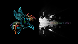 Size: 2560x1440 | Tagged: safe, artist:aloopyduck, rainbow dash, pegasus, pony, black background, elegant, female, flying, mare, simple background, solo, wallpaper, wings