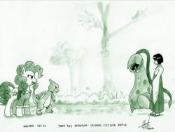 Size: 3100x2331 | Tagged: safe, artist:digiral, pinkie pie, charmeleon, human, pony, victreebel, series:pinkie pie's adventure, erika, inktober, monochrome, pokémon, traditional art