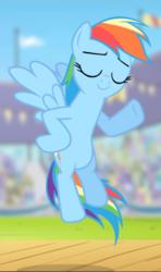 Size: 556x940 | Tagged: safe, screencap, rainbow dash, pegasus, pony, flight to the finish, cropped, eyes closed, female, flying, hooves on hips, mare, raised hoof, smiling, smirk, smug, underhoof