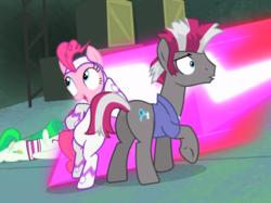 Size: 879x656 | Tagged: bipedal, bipedal leaning, blow dry, clothes, cropped, fili-second, leaning, neon brush, pinkie pie, power ponies, power ponies (episode), safe, screencap, smiling, speed trail
