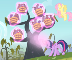 Size: 1110x926 | Tagged: alicorn, bats!, cropped, flutterbutt, fluttershy, flying, glowing horn, magic, magic aura, plot, pony, rear view, safe, screencap, spell, tree, twibutt, twilight sparkle, twilight sparkle (alicorn), vampire fruit bat