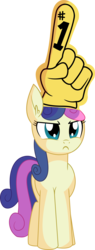 Size: 4108x10858 | Tagged: absurd res, artist:cyanlightning, bon bon, bon bon is not amused, clothes, ear fluff, earth pony, female, foam finger, hand, mare, pony, safe, simple background, solo, .svg available, sweetie drops, transparent background, unamused, vector