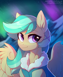 Size: 4120x5000 | Tagged: absurd res, artist:fensu-san, aurora borealis, bust, clothes, female, hairpin, mare, mountain, night, night sky, oc, oc only, oc:summer ray, pegasus, pony, portrait, safe, sky, snow, solo, spread wings, starry night, wing fluff, wings, winter