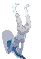 Size: 2894x4093 | Tagged: artist:amazingpuffhair, belly button, equestria girls, exercise, handstand, high res, midriff, safe, simple background, solo, sonata dusk, upside down, white background