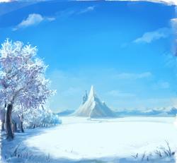 Size: 2215x2048 | Tagged: safe, artist:hunternif, background, canterlot, complex background, no pony, scenery, snow, tree, winter
