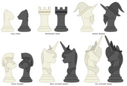Size: 8000x5400 | Tagged: safe, artist:mundschenk85, pony, absurd resolution, bishop, chess, king, knight, knight pony chess, pawn, queen, rook, simple background, transparent background, vector