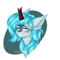 Size: 1500x1500   Tagged: safe, artist:dazyre, oc, oc only, oc:frost flare, kirin, blushing, bust, ear fluff, kirin oc, looking at you, portrait, simple background, transparent background