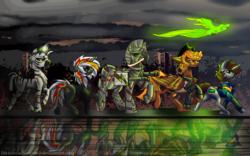 Size: 1920x1200 | Tagged: safe, artist:brainiac, oc, oc only, oc:calamity, oc:littlepip, oc:pyrelight, oc:steelhooves, oc:velvet remedy, oc:xenith, oc:zenith, balefire phoenix, bird, earth pony, pegasus, phoenix, pony, unicorn, zebra, fallout equestria, applejack's rangers, armor, clothes, cloud, cloudy, cowboy hat, cutie mark, dashite, fanfic, fanfic art, female, floppy ears, flying, group, gun, hat, hooves, horn, male, mare, pipbuck, power armor, scar, stallion, steel ranger, vault suit, walking, wasteland, weapon, wings, zebra oc