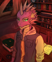 Size: 2500x3000 | Tagged: anthro, artist:shimmi, ashtray, badass, book, bookshelf, cigarette, clothes, cool, dragon, jacket, library, safe, smoking, solo, spike