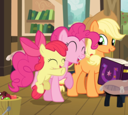 Size: 859x774 | Tagged: adorabloom, apple, apple bloom, applejack, applejack's hat, book, bow, cowboy hat, cropped, cute, diapinkes, earth pony, eyes closed, female, filly, food, friendship journal, hair bow, happy, hat, hug, jackabetes, mare, open mouth, pinkie apple pie, pinkie pie, pony, safe, screencap, smiling