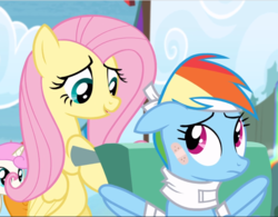 Size: 1205x941 | Tagged: bandage, bipedal, cropped, fluttershy, pony, pushing, rainbow dash, rainbow falls, safe, screencap, wheelchair