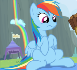 Size: 1038x940 | Tagged: apple brown betty (food), cropped, female, food, mare, pegasus, pony, rainbow dash, rainbow falls, rainbow waterfall, safe, screencap, sitting, solo, wavy mouth