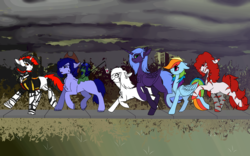 Size: 1920x1200 | Tagged: alicorn, amputee, artificial alicorn, artist:brainiac, carrot on a stick, clothes, collar, cybernetic enhancement, cyborg, derpibooru exclusive, earth pony, fallout equestria, fallout equestria: project horizons, fanfic art, female, group, male, mare, not rainbow dash, oc, oc:blackjack, oc:boo, oc:lacunae, oc:morning glory (project horizons), oc only, oc:p-21, oc:rampage, oc:scotch tape, pegasus, pony, purple alicorn (fo:e), quadruple amputee, safe, snack cake, stallion, unicorn, wip