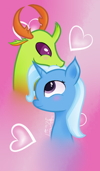 Size: 1165x1999 | Tagged: artist:trafalgarnaomy, bust, changedling, changeling, female, king thorax, male, safe, shipping, straight, thorax, thoraxie, trixie