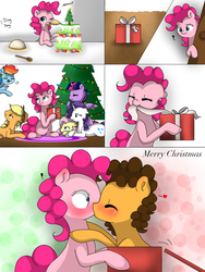 Size: 1536x2048 | Tagged: alicorn, applejack, artist:valiantstar00, blushing, cake, cheesepie, cheese sandwich, christmas, christmas tree, comic, cute, female, fluttershy, food, holiday, kissing, male, pinkie pie, present, rainbow dash, rarity, safe, shipping, straight, surprise kiss, tree, twilight sparkle, twilight sparkle (alicorn)