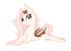 Size: 687x494 | Tagged: artist:aledera, bat pony, female, mare, oc, oc:cookie crumble, pony, prone, safe, simple background, solo, transparent background