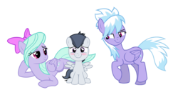 Size: 4677x2757 | Tagged: safe, artist:lunaticdawn, cloudchaser, flitter, rumble, pegasus, pony, bedroom eyes, blushing, cloudrumble, colt, female, flitterumble, flitterumblechaser, lying down, male, mare, rumble gets both the mares, rumblechaser, shipping, simple background, sitting, spread wings, straight, transparent background, trio, wingboner, wings
