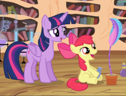 Size: 1067x812 | Tagged: alicorn, apple bloom, big smile, cropped, earth pony, female, filly, flower, flower pot, foal, golden oaks library, mare, pony, potion making, proud, safe, screencap, sitting, smiling, success, teaching, twilight sparkle, twilight sparkle (alicorn), twilight time