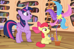 Size: 1329x881 | Tagged: alicorn, apple bloom, cropped, earth pony, female, filly, flower, flower pot, foal, golden oaks library, mare, pony, potion making, raised hoof, safe, screencap, sitting, teaching, twilight sparkle, twilight sparkle (alicorn), twilight time