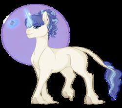 Size: 1024x905 | Tagged: safe, artist:ganashiashaka, oc, oc:royal knit, classical unicorn, pony, unicorn, cloven hooves, female, leonine tail, magic, mare, solo, spool, unshorn fetlocks