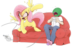 Size: 1386x890 | Tagged: anon's couch, artist:shoutingisfun, clothes, couch, cross-popping veins, destruction, dreamcast, feather, female, flutterrage, fluttershy, human, male, mare, mismatched socks, oc, oc:anon, ooc is serious business, pegasus, pony, rage, rage quit, safe, sega dreamcast, simple background, socks, spread wings, throwing, vein bulge, video game, video game controller, white background, wings