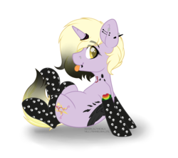 Size: 4584x4091 | Tagged: safe, artist:hellishprogrammer, dinky hooves, pony, spider, unicorn, icey-verse, clothes, ear piercing, earring, feather, female, goth, heart, horn ring, jewelry, lip piercing, mare, nose piercing, older, older dinky hooves, piercing, raised hoof, skull, snake bites, socks, solo, tattoo, tongue out, wings, ych result