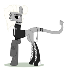 Size: 1556x1696 | Tagged: safe, artist:elementbases, artist:space--paws0w0, oc, oc only, oc:akuma (ice1517), demon, demon pony, pony, base used, bedroom eyes, black sclera, boots, choker, clothes, colored sclera, converse, cross, ear piercing, earring, female, grin, jewelry, mare, nose piercing, nose ring, pentagram, piercing, raised hoof, scar, shirt, shoes, simple background, smiling, solo, spiked choker, t-shirt, tattoo, transparent background
