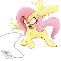 Size: 2012x2012 | Tagged: artist:shoutingisfun, destruction, dreamcast, edit, feather, female, flutterrage, fluttershy, mare, pegasus, pony, rage, rage quit, safe, sega dreamcast, simple background, spread wings, throwing, transparent background, vein bulge, video game, video game controller, wings