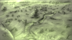 Size: 1920x1080   Tagged: safe, artist:cyrilunicorn, fallout equestria, no pony, ponyville, ponyville town hall, river, ruins, scenery, town, wasteland