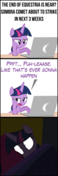 Size: 2000x6000 | Tagged: alicorn, artist:mrkat7214, bed, bored, comic, computer, end of ponies, hoax, implied king sombra, laptop computer, pony, safe, scared, shrunken pupils, solo, twilight is not amused, twilight sparkle, twilight sparkle (alicorn), unamused