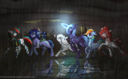 Size: 1920x1200 | Tagged: alicorn, amputee, artificial alicorn, artist:brainiac, carrot on a stick, clothes, collar, cybernetic enhancement, cyborg, earth pony, fallout equestria, fallout equestria: project horizons, fanfic art, female, glowing horn, group, male, mare, not rainbow dash, oc, oc:blackjack, oc:boo, oc:lacunae, oc:morning glory (project horizons), oc only, oc:p-21, oc:rampage, oc:scotch tape, pegasus, pony, purple alicorn (fo:e), quadruple amputee, safe, snack cake, stallion, unicorn