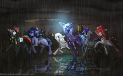 Size: 1920x1200 | Tagged: alicorn, amputee, artificial alicorn, artist:brainiac, carrot on a stick, clothes, collar, cybernetic enhancement, cyborg, earth pony, fallout equestria, fallout equestria: project horizons, fanfic art, female, group, male, mare, oc, oc:blackjack, oc:boo, oc:lacunae, oc:morning glory (project horizons), oc only, oc:p-21, oc:rampage, oc:scotch tape, pegasus, pony, purple alicorn (fo:e), quadruple amputee, safe, snack cake, stallion, unicorn