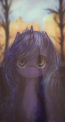 Size: 1029x1920 | Tagged: safe, artist:plotcore, princess luna, pony, blurred background, bust, crepuscular rays, cute, female, looking at you, lunabetes, mane, mare, solo