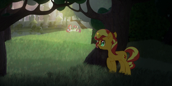 Size: 1280x642   Tagged: safe, artist:minty root, screencap, moondancer, sunset shimmer, pony, unicorn, the fall of sunset shimmer: animated film, female, hiding, mare, park, self ponidox, tree
