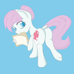 Size: 3000x3000 | Tagged: safe, artist:billysan727, nurse redheart, earth pony, pony, adoredheart, blue background, colored pupils, cute, dock, eye clipping through hair, female, heartabetes, looking back, mare, mouth hold, plot, simple background, solo