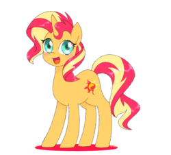 Size: 1200x1083 | Tagged: artist:ch-chau, cute, female, looking at you, mare, open mouth, pony, safe, shimmerbetes, simple background, smiling, solo, sunset shimmer, transparent background, unicorn