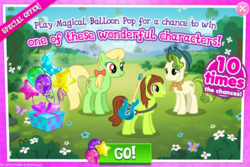 Size: 1029x689 | Tagged: advertisement, apple munchies, balloon, earth pony, electric guitar, female, gameloft, green, guitar, holiday, john lennon, male, mare, official, pistachio, ponified, present, safe, saint patrick's day, stallion, strawberry fields
