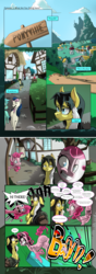 Size: 4093x11574 | Tagged: artist:marrow-pony, bon bon, comic, comic:kinship is complicated, faic, female, insanity, lyra heartstrings, male, mare, missing cutie mark, oc, ouch, party cannon, pinkie pie, ponyville, safe, stallion, surprised, sweetie drops